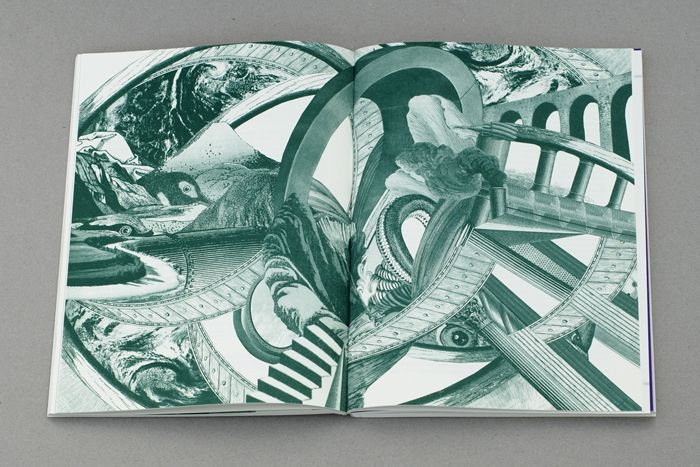Science poems book with green tinted images designed by åh studio