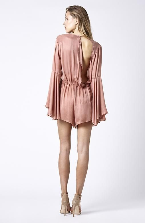 RUBY SEES ALL - Bowie Playsuit - Dusty Rose Silk