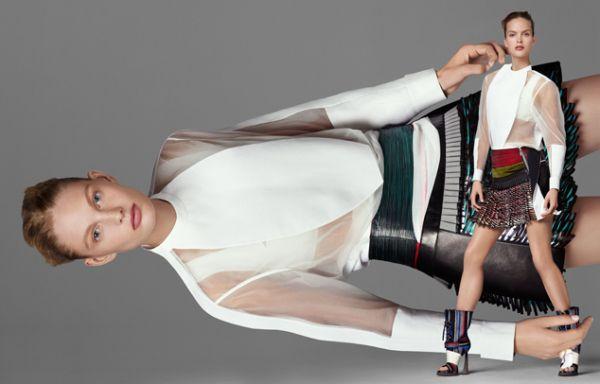 Mirte Maas & Patricia van der Vliet shot by Steven Meisel and styled by Marie-Amélie Sauvé for Balenciaga, Spring/Summer 2010 Campaign.