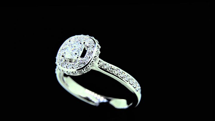 MANDY -- Luxury Halo Engagement ring set with Cushion Cut Diamond in 18ct Gold with Accent Diamond detail down side of Halo and Shouders. Total Diamond Wt. - 0.87ct - Centre GIA Cert D/VS1