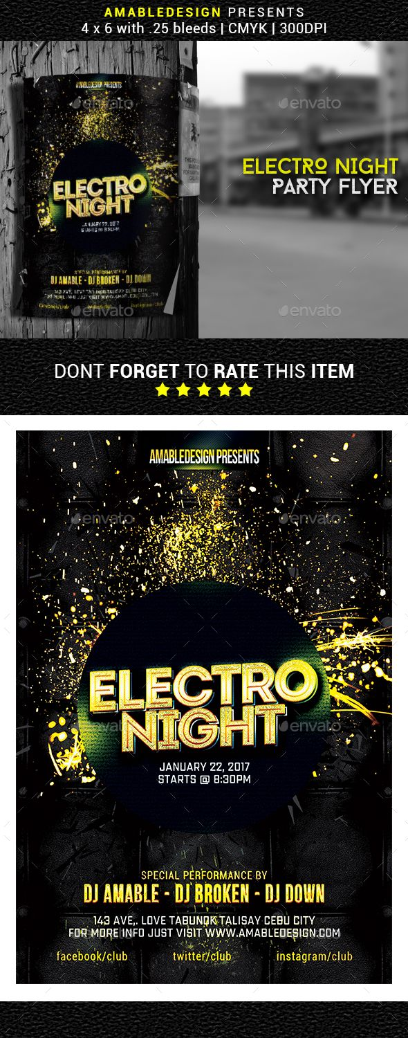Electro Night Flyer / Poster Template PSD