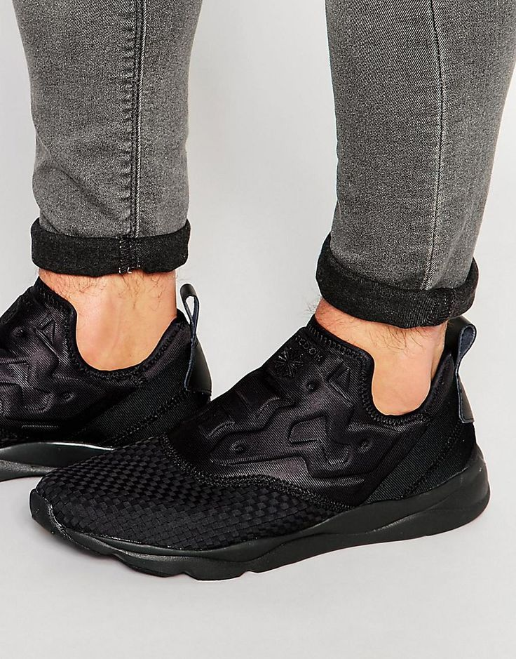 f2609b207f500c ... all black sneakers images on Pinterest Reebok+Furylite+Slip-On+Woven+Trainers+In+Black+  ...