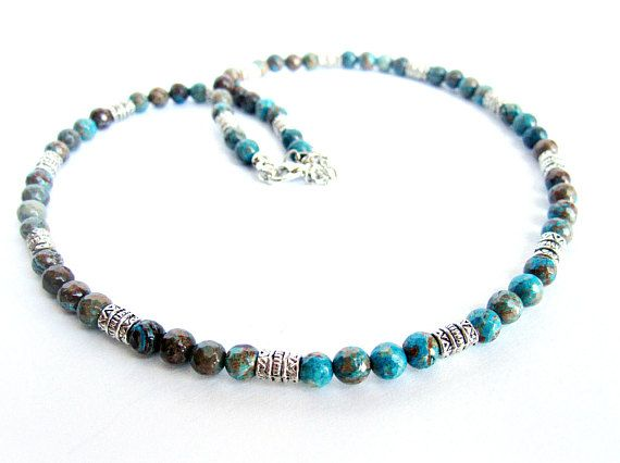 Mens necklace blue crazy lace agate beaded necklace gift for him blue brown stones necklace beaded necklace for men italian jewelry