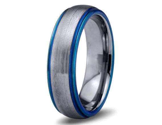 Mens Wedding Band Blue Tungsten Ring Bands