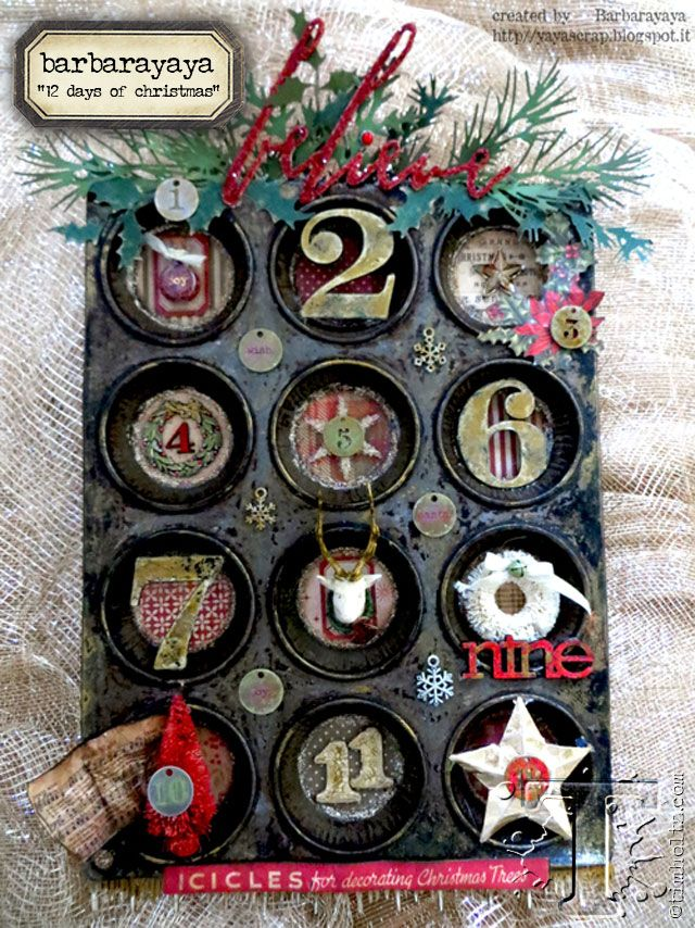 tim holtz - holiday inspiration series:  the combination of a vintage tin mixed with new holiday papers and findings results in a festive mixed-media project from barbarayaya.