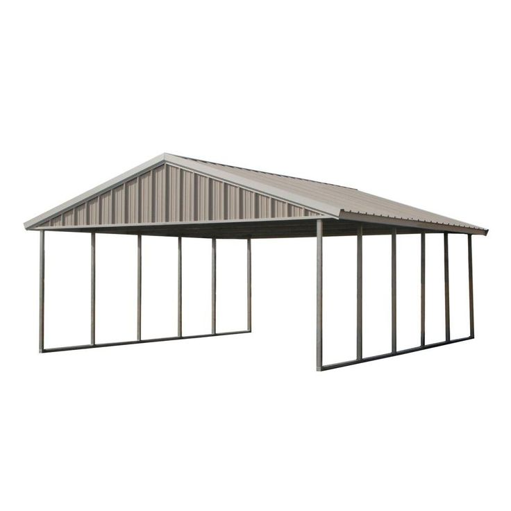Premium Canopy 20 ft. x 24 ft. Ash Grey and Polar White All Steel Carport Structure with Durable Galvanized Frame