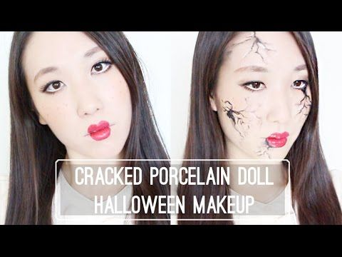 Cracked Porcelain Doll Halloween Makeup // 깨진 도자기인형 할로윈 메이크업 - YouTube
