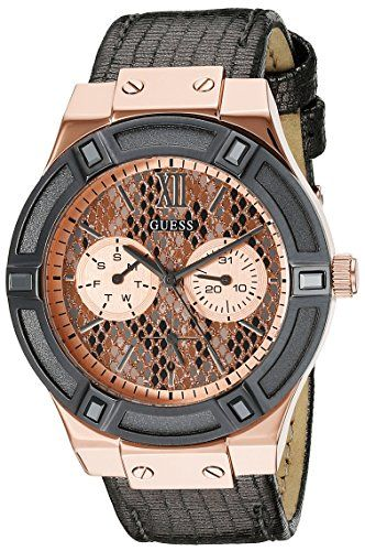 GUESS Women's U0289L4  Rose Gold-Tone Multi-Function Watch with Grey Python ...