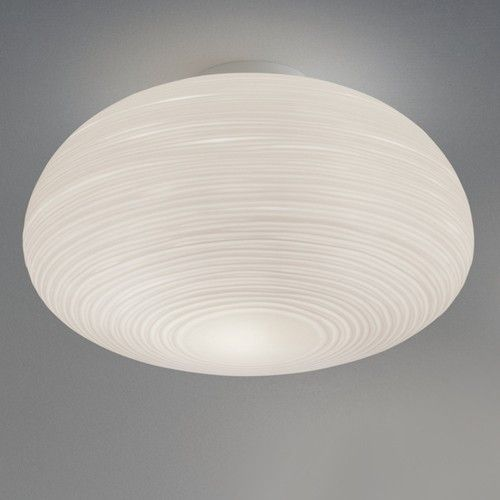 Resembling a modern, high-tech version of a Japanese paper lantern, the Rituals 2 Ceiling Light provides ambient, diffused illumination thanks to Murano glass molded into a ripple effect. http://www.ylighting.com/blog/flush-mount-ceiling-lights-every-room/