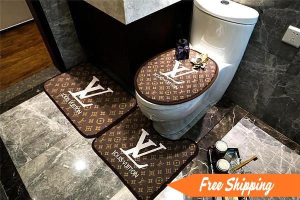 Luxury Bath Mat 3ps Lv Supreme Logo Fashion Non Slip Bathroom Mats Bathroom Mats Luxury Bath Mats Luxury Bath