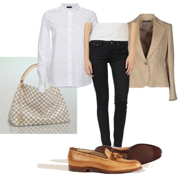 """Beiger Blazer Massimo Dutti Outfitkombination"" by nbarbarat on Polyvore"