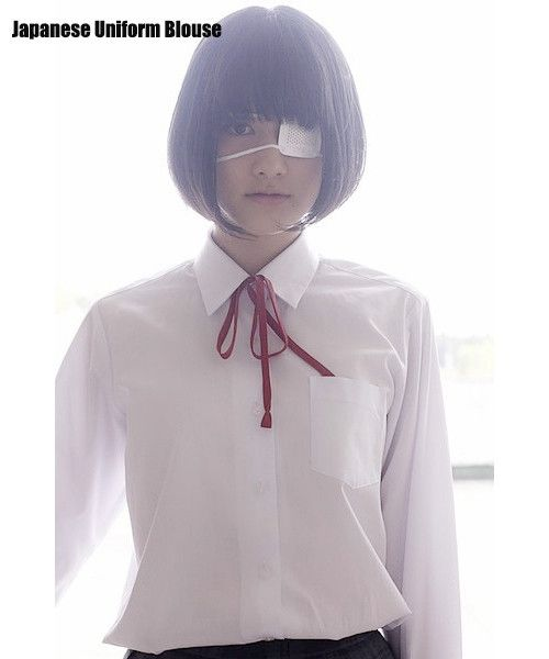 Japanese School Uniform Style Girls French Toast Blouse Sharp Collar Uniform Shirt Tops with Chest Pocket Long Sleeves