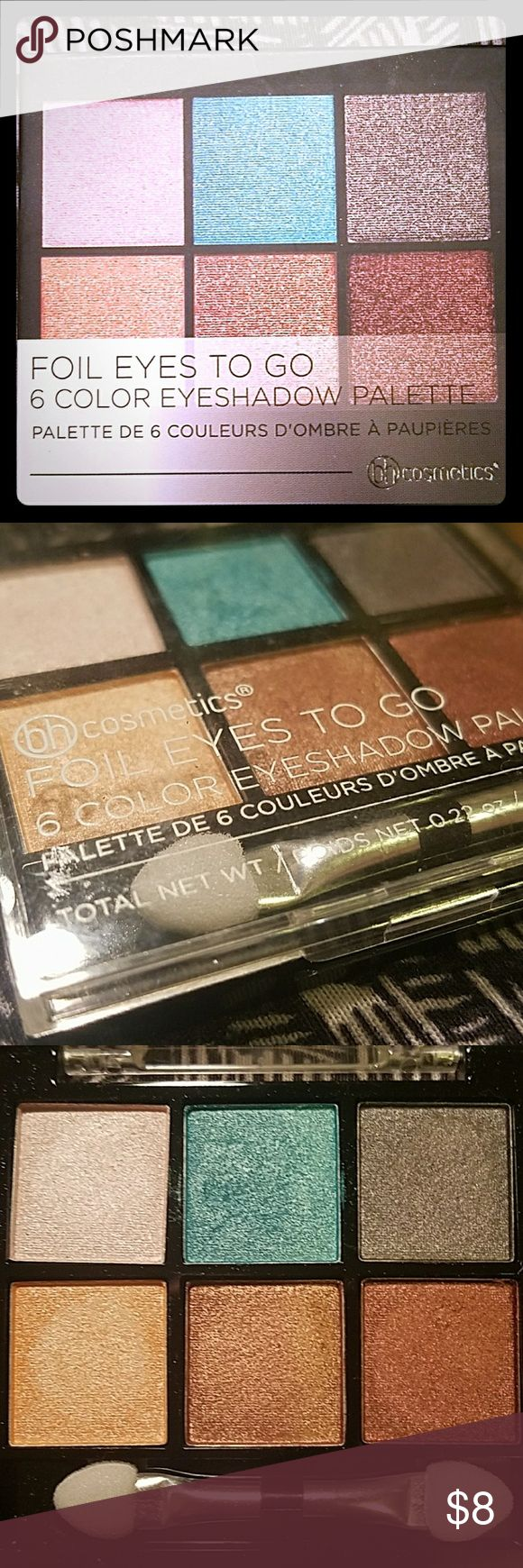 BNIB BH Cosmetics Foil Eyes To Go 6 color eye shadow palette. Opened to swatch and then put back in box. Sanitized and ready to go. Brush never used. Make me an offer or trade. BH Cosmetics  Makeup Eyeshadow