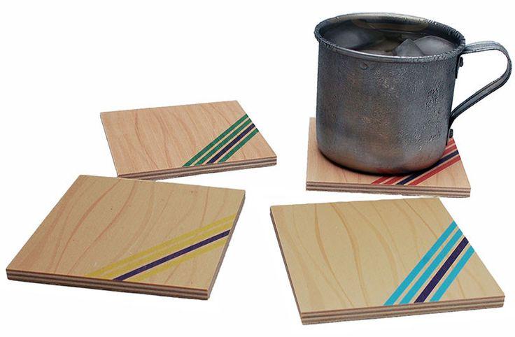 Flox 'Stripes' Wooden Coasters