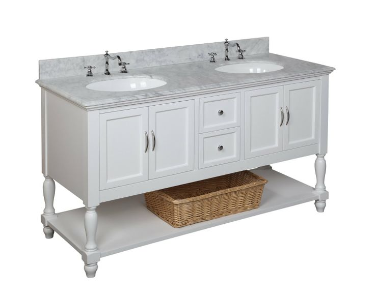 Beverly Double Bathroom Vanity (Carrara/White): Includes White Cabinet With  Soft Close Drawers, Authentic Italian Carrara Marble Countertop, And Two  Ceramic ...