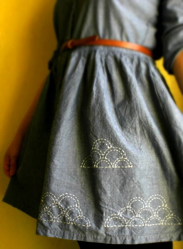 Free Tutorial Sashiko Clouds Dress I Love Japanese fashion? Learn to sew Japanese sewing patterns at http://www.japanesesewingpatterns.com/.