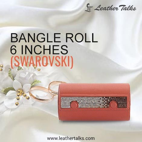 A #trendyleather jewellery box ideal for gifting your closed friend on her birthday.   This BANGLE ROLL (SWAROVSKI) can store upto three bangle sets.   #funtionalyetstylish #pureleather #lockfeature   http://leathertalks.com/product/bangle-roll-7/