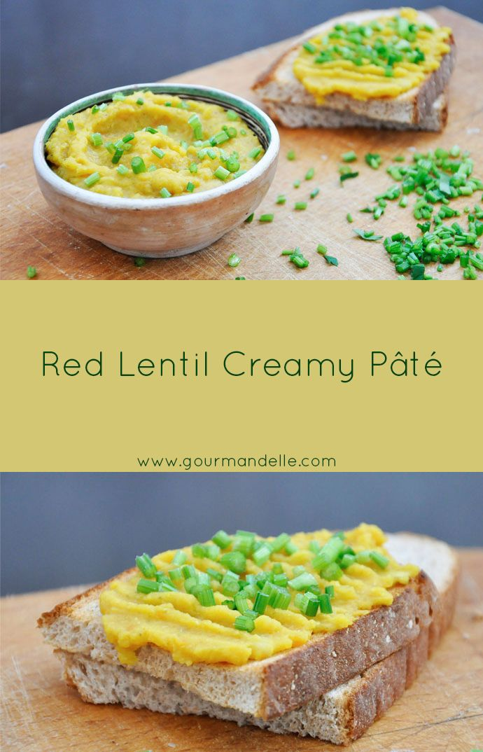 This is a high protein, low fat and low calorie vegan/vegetarian red lentil pâté recipe. Give it a try! | gourmandelle.com | #lentils #spread