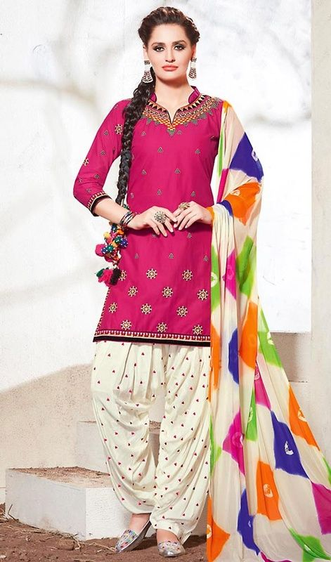 Revamp your wardrobe with something new as you don this pink color embroidered cotton Patiala suit. You'll see some interesting patterns carried out with patch, lace and resham work.