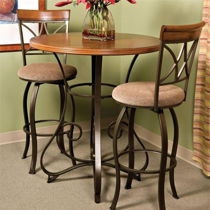 Bistro Pub Table Matte Pewter/Bronze Tall Furniture Bar Counter Height  Modern