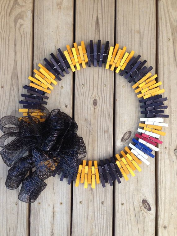 Pittsburg Steelers clothespin wreath on Etsy, $35.00