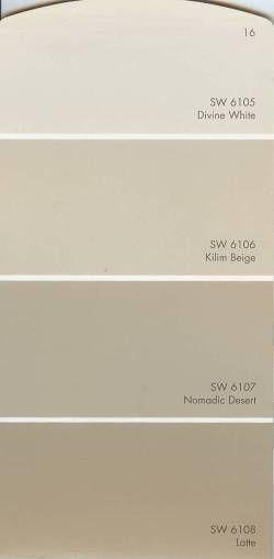 Sherwin Williams  Divine White 6105 and Kilim Beige 6106