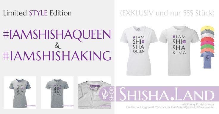 NEU !!! Und ab sofort lieferbar !!! Sichere die noch heute eins der begehrten T-Shirts aus dieser Serie STYLE und zeige allen anderen, Du bist KING oder QUEEN in Sachen SHISHA. Die erste Limited Edition im Shisha.Land Die T-Shirts der limitierten Serie #IAmShishaQueen & #IAmShishaKing | STYLE #Neu #Shisha #Hookah #TShirt #Exklusiv #LimitedEdition ##ShopShishaLand #Style