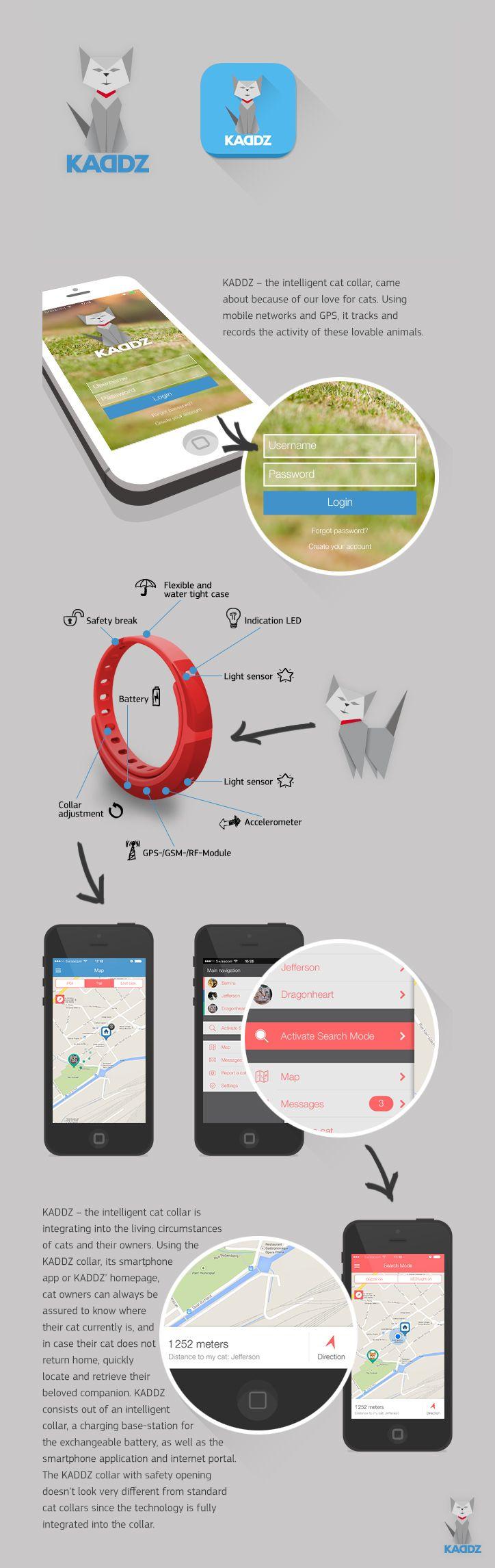 KADDZ - The Intelligent GPS Cat Collar   App Design / Concept - www.kaddz.com
