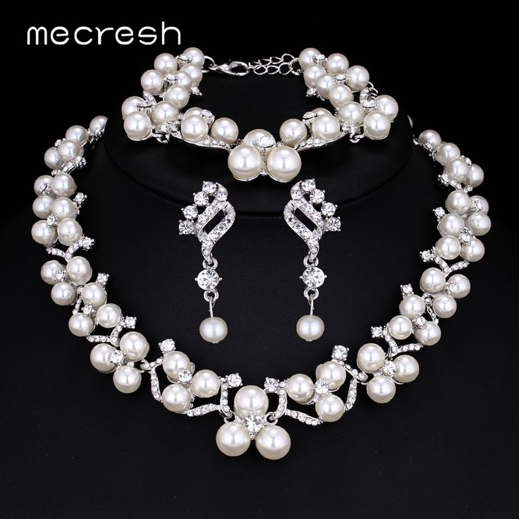 Mecresh Simulated Pearl Bridal Jewelry Sets 2017 New Wedding Necklace Earrings Bracelets For Women Mtl472