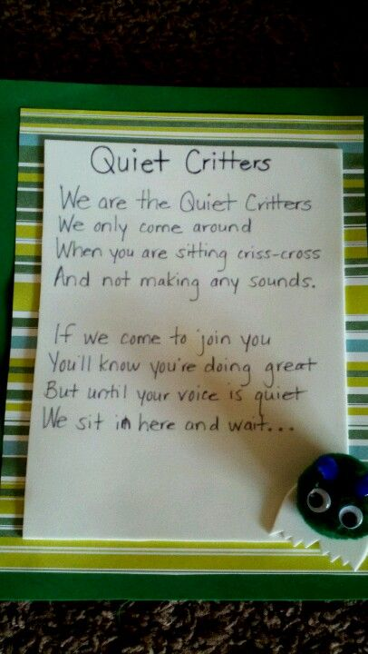 Quiet Critters only come out when children are sitting quietly. Then they get to hold one.