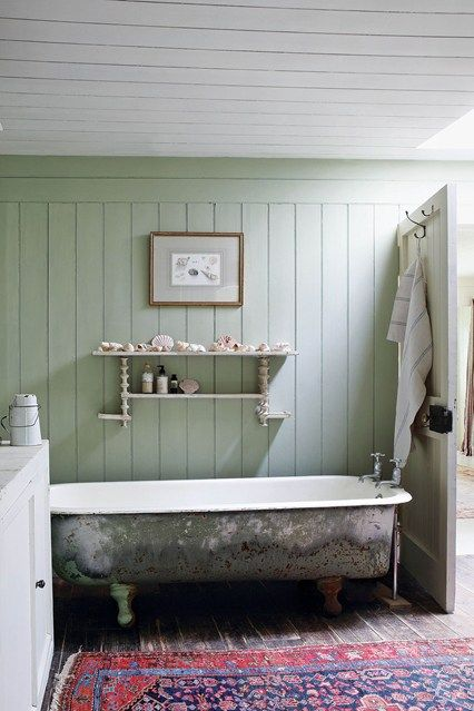 Jeanetta Rowan-Hamilton of Nettles Cashmere restored her tin-roofed fishing lodge after inheriting it from her parents. In the bathroom she has used old Lincolnshire cotton reels to create useful shelving.  - Bathroom Ideas (houseandgarden.co.uk)