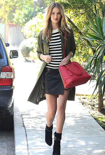 Rosie Huntington-Whiteley - Equipment sweater, Isabel Marant skirt, Kurt Geiger bag & Givenchy boots
