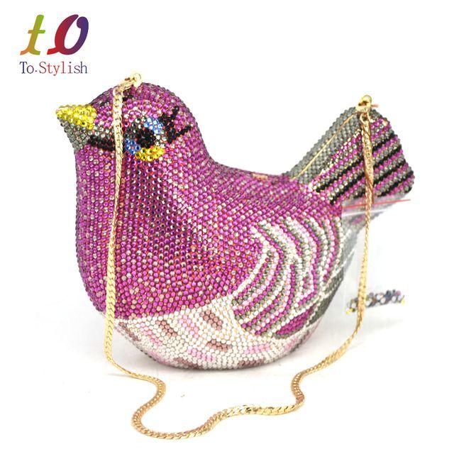 Mujeres de la manera de Lujo de Cristal Bolsa de Embrague de La Boda Del Rhinestone Bolso de Noche Bolsa de Lavanda del Bolso de Embrague Del Partido bolso de Aves SC468