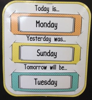 This contains three files that can be used with any calendar. There is a file to chart the weather, to track the days of the week (today is, yesterday was, and tomorrow will be), and to track the number of days in school. You can cut along the slits provided or use Velcro.