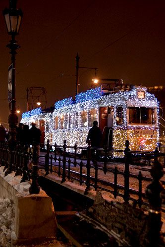 Christmas Tram in Budapest, Hungary