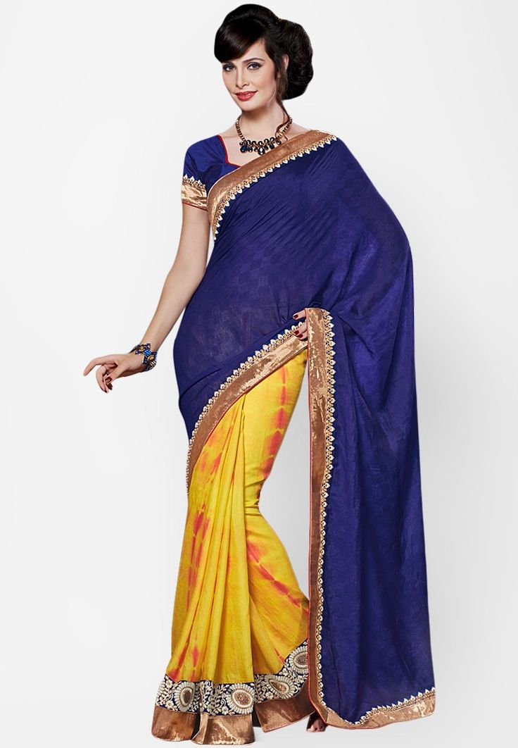Viscose Blue Embroidered Saree at $121.60 (24% OFF)