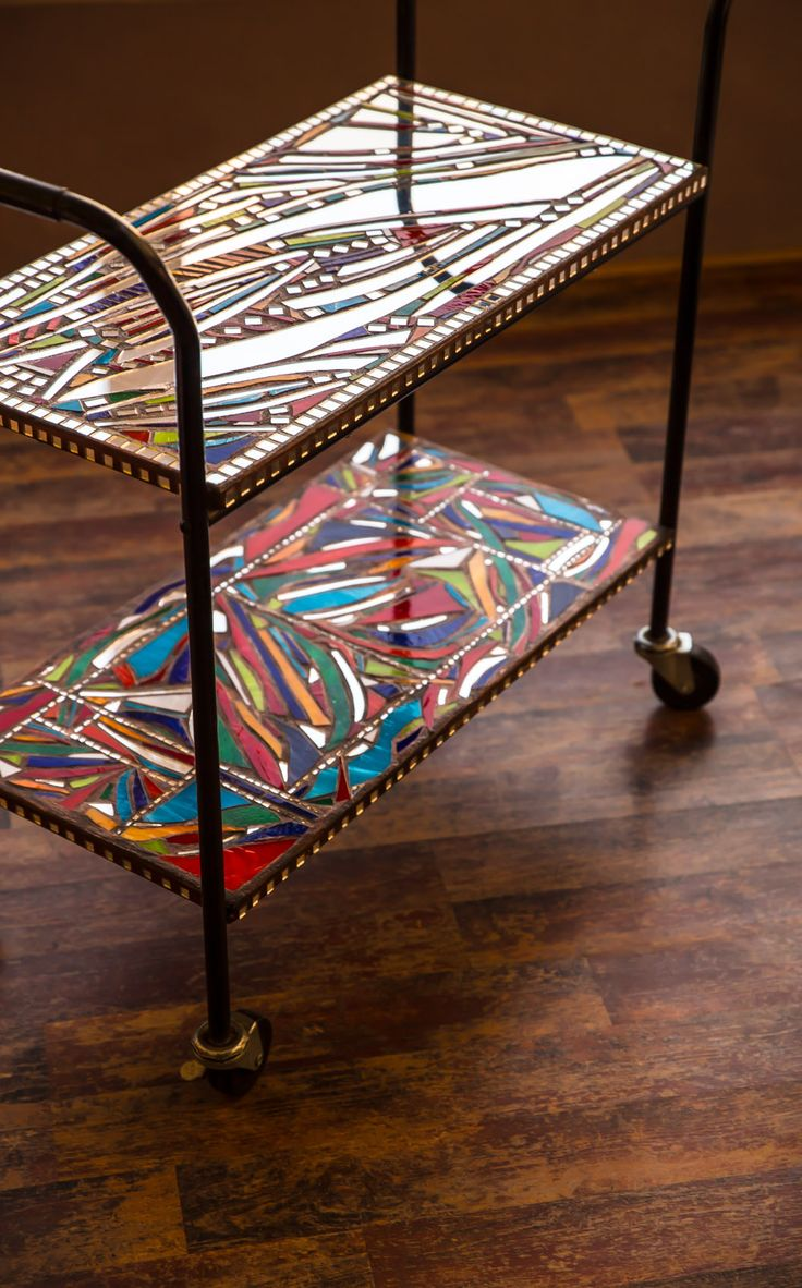 Glass mosaic serving table