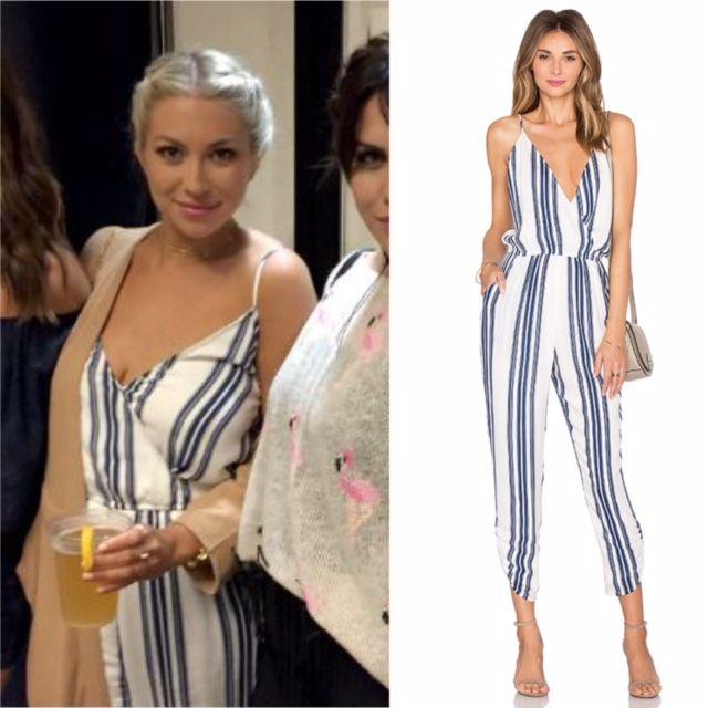Stassi Schroeder's Striped Jumpsuit in Montauk http://www.bigblondehair.com/reality-tv/stassi-schroeders-blue-white-striped-jumpsuit/ Season 7 Episode 9 Vanderpump Rules Fashion