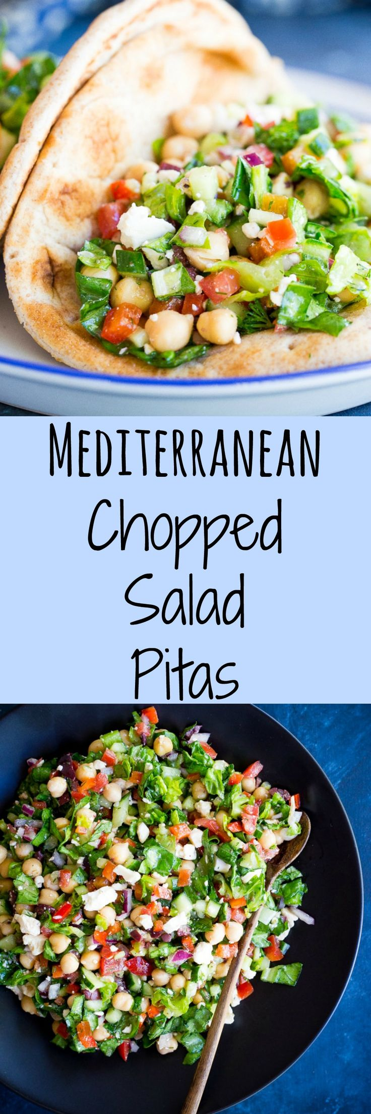 These Mediterranean Chopped Salad Pitas are perfect for a quick, easy and healthy lunch that requires no cooking at all!  Vegetarian, Gluten free option