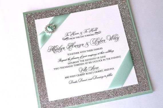 The Marilyn Couture Invitation in White, Mint Green and Silver Glitter - embellishedbytiffany.com
