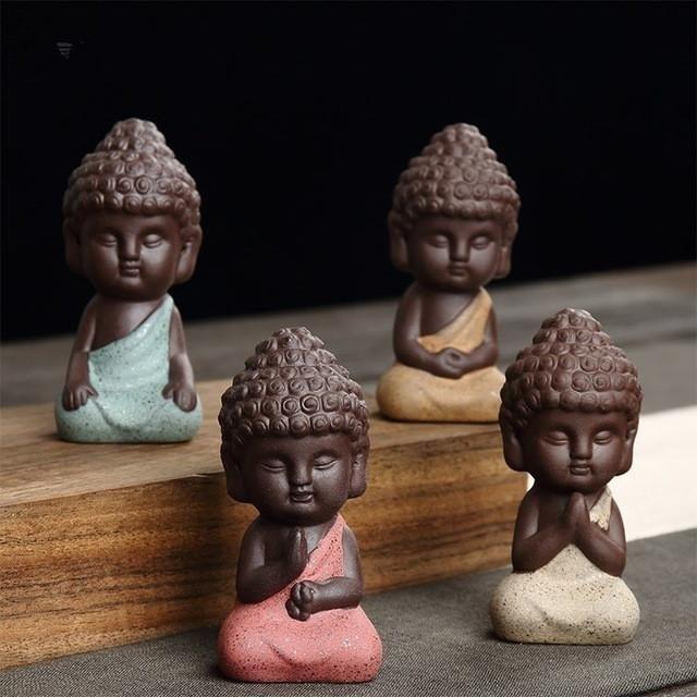 small Buddha statue monk figure tea pet ceramic buddhist craft Zakka decorative ornaments buda India Yoga figurines home docer