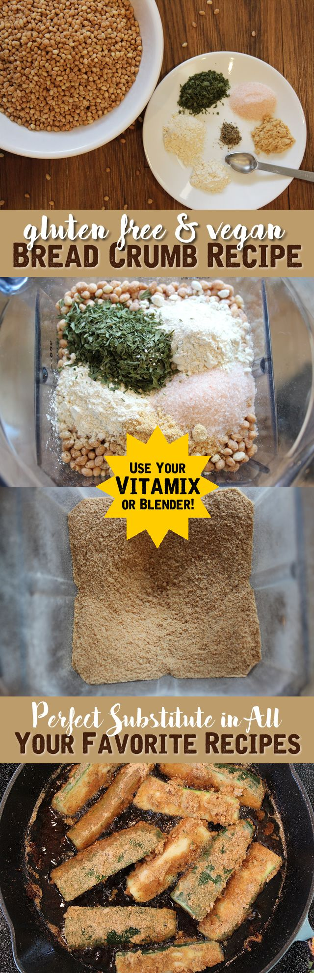 The BEST Gluten Free Breadcrumb Recipe - Use it in all your favorite recipes. #glutenfree #vegan #breadcrumbs #recipe #vitamix #enjoylifefoods #cleaneating