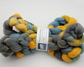Another nice pin from Esty treasuries - Hand-dyed 19-21 micron merino wool  - Stormy Weather - felting wool, merino roving