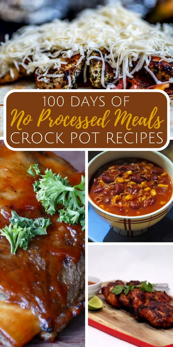 "100 Days of NO Processed Meals: Crock Pot Recipes - By ""no processed"" foods I mean that nothing in these recipes calls for cream-of junk (unless it's homemade), any pre-packed item like Italian Dressing, or Velveeta (bless Velveeta's heart), etc."