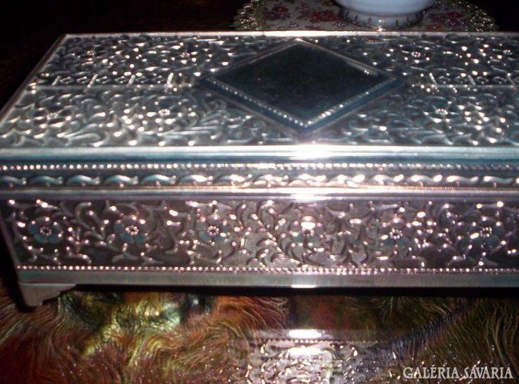 Ezüstözött ÉKSZERES DOBOZ, 23x11x7.5 cm Silver Plated