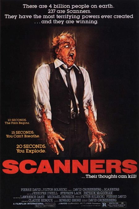 Scanners, horror, movie, poster, art