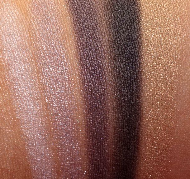 Swatches of the Chanel Les 5 Ombres de Chanel Eyeshadow Palette in Oiseaux de Nuit, $80
