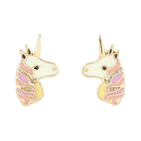 Accessorize Unicorn Stud Earrings ($6) ❤ liked on Polyvore featuring jewelry, earrings, unicorn earrings, white jewelry, pink earrings, stud earring set and pink jewelry