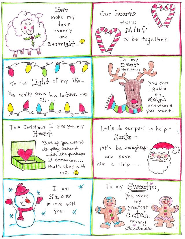 Christmas love notes for the happy hubby