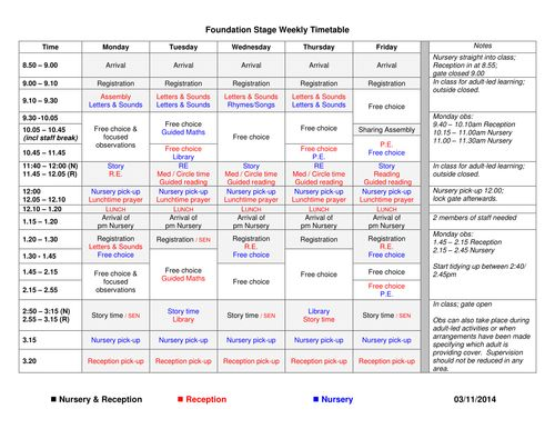 This is my current weekly timetable for my Reception class.  It is a Catholic school, so has more RE and prayer time that you might need.  The second doc...